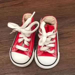 Baby red high top converse